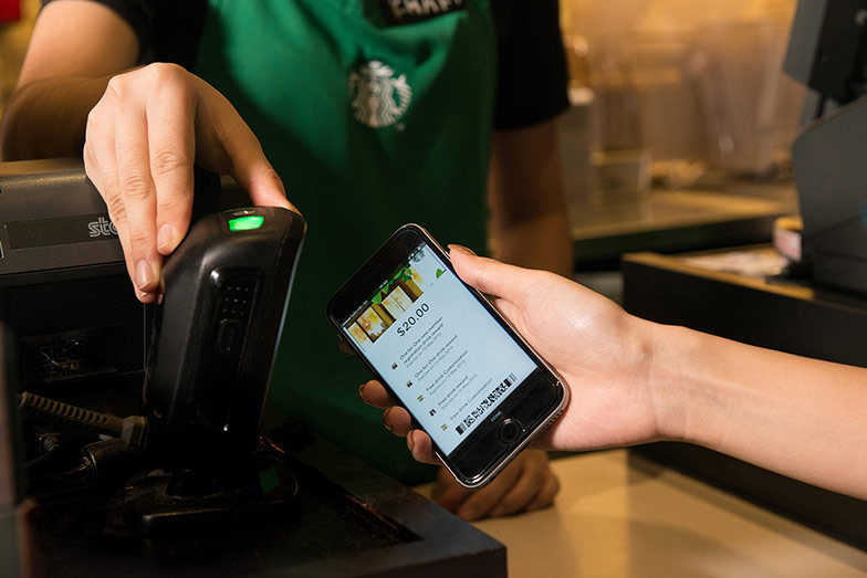 paying for coffee with mobile app
