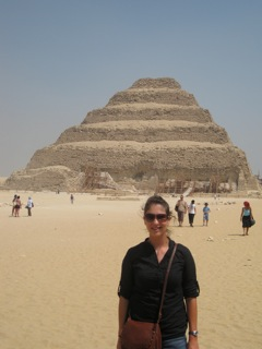 Study abroad student standing in front of the Step Pyramid of Djoser at Saqqara