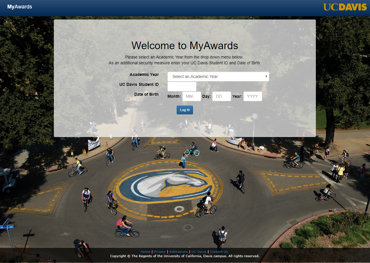 MyAwards Login Screen
