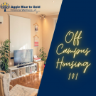 "Apartment interior with ""Off-Campus Housing 101"" text"