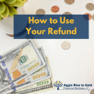 How to use your refund, currency background