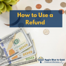 How to use a refund, currency background
