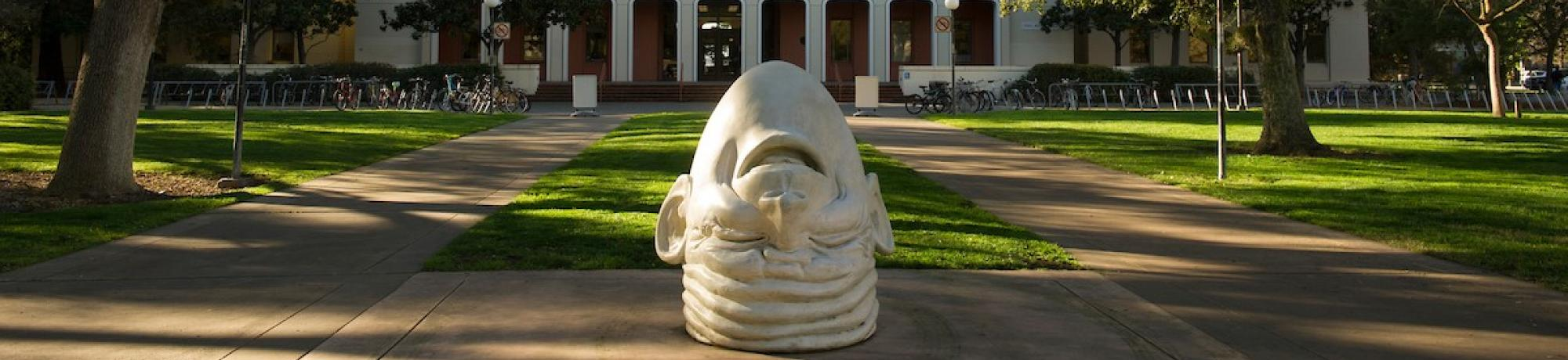 Egghead in front of Mrak Hall
